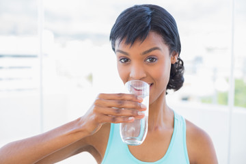 Charming black haired woman drinking a glass of water