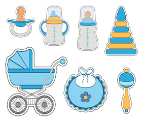 Baby boy icon set