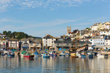 Brixham harbour Devon with boats and blue sky