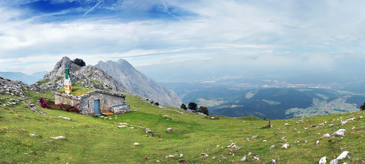 panorama of house on mountain range