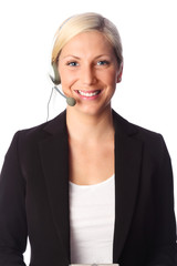 Beautiful businesswoman headset