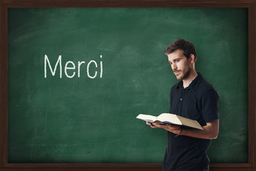 Young professorteaching French