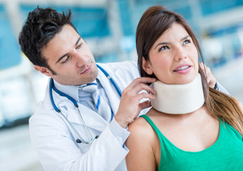 Woman with a neck injury