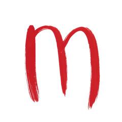 m - Red handwritten letter over white background lower case