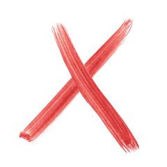 x - Red handwritten letter over white background lower case