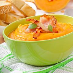 pumpkin cream soup with bacon