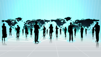 3D Digital Images People Linked by Business Networks