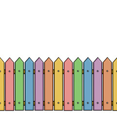 vector seamless cartoon colorful fence