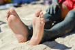 Man applying mineral blue mud on knee