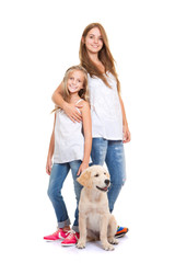 kids with golden labrador, retriever puppy