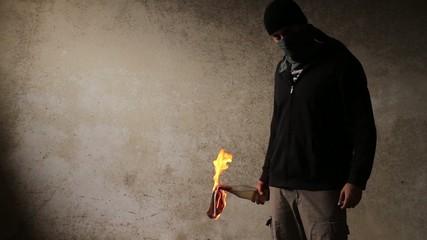 Aggression Violence Terrorist Danger Fire Molotov Concept HD