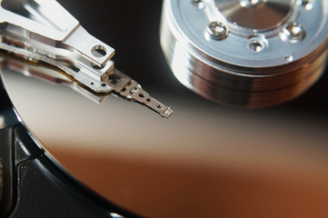 Close up of hard disk into personal computer