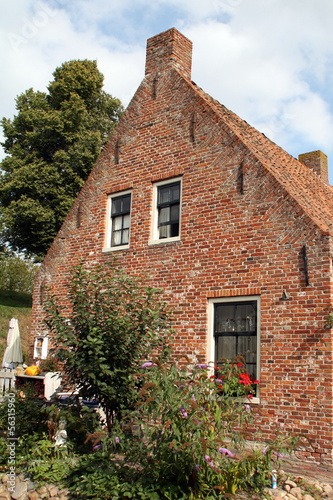 Historic facade in the fortress Bourtange.The Netherlands
