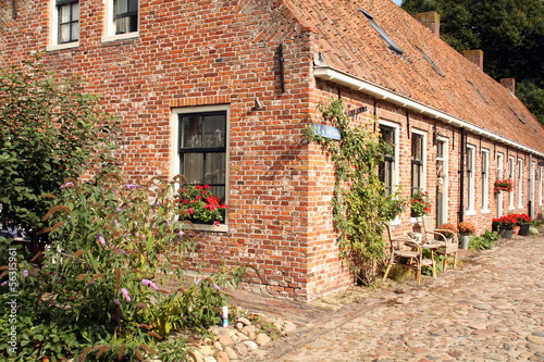 Cozy street in the fortress Bourtange.The Netherlands