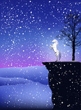 fairy tale winter postcard with unicorn in snowfall