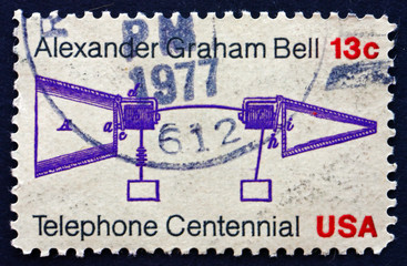 Postage stamp USA 1976 Bell's Telephone Patent Application