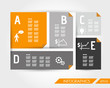 orange flat template with five icons