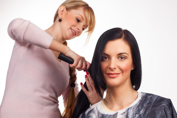 Hairdresser working with a client