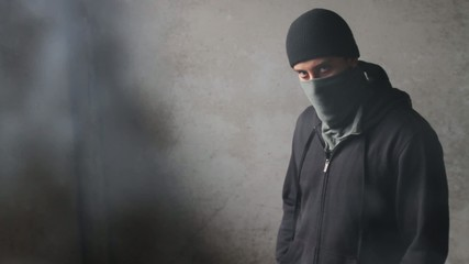 Man Balaclava Criminal Smoke Robber Crime Concept HD