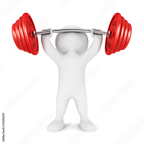 3d white people weightlifting