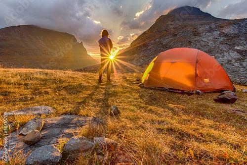 Fototapeta Sunrise with Tent in Lapland