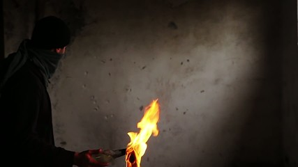 Man Throwing Molotov Cocktail Slow Motion Explosion Wall