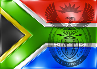 sout africa flag with coat of arm