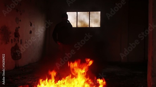 Anarchist Rebel Causing Fire Explosion Indoors Danger Concept HD
