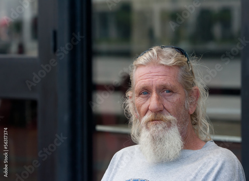 Homeless man with beard