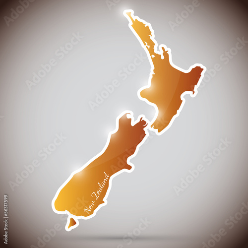 vintage sticker in form of New Zealand