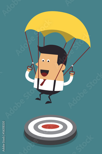 Businessman focused on a target with parachute, Business concept