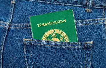 Turkmenistan passport in the back jeans pocket