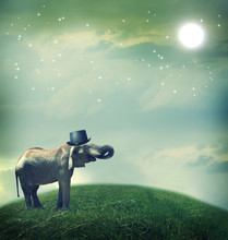 Elephant with top hat on fantasy landscape