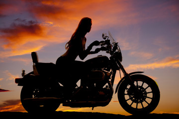 woman motorcycle silhouette riding