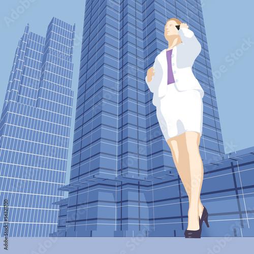 Kauffrau mit Handy / Wolkenkratzer Hintergrund - Illustration