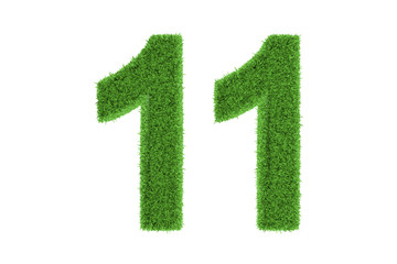 Number 11 with a green grass texture