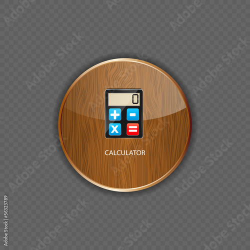 Calculator wood application icons vector illustration