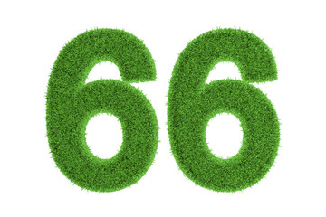 Green eco-friendly symbol of number 66, on white