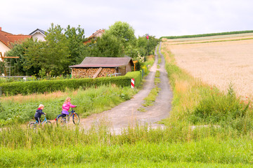 Children by bicycles go on the field road