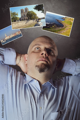Man choosing his next travel location