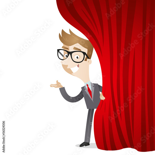 Businessman, curtain, presenting, stage, welcome