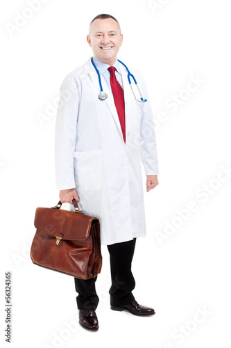 Full length doctor isolated on white