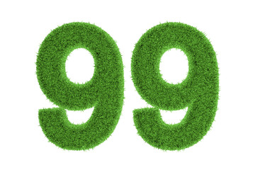 Number 99 with a green grass texture