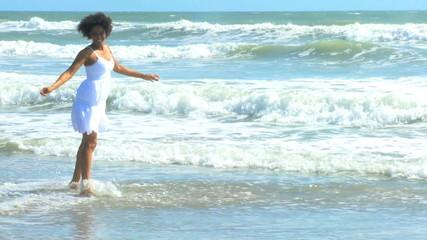 Beautiful Girl Wearing White Loving Island Lifestyle