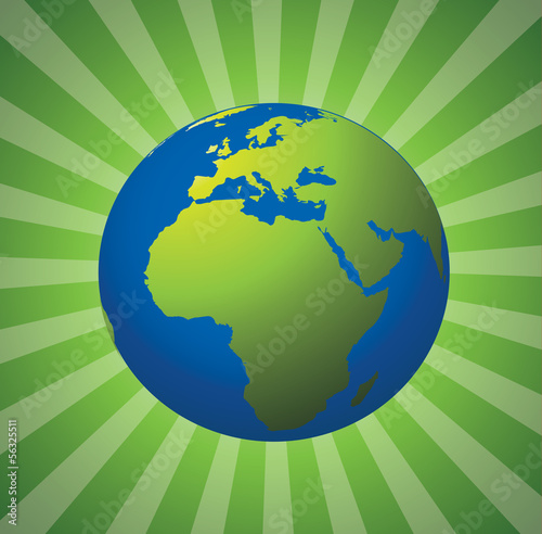 Globe 3d map with green eco beams