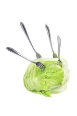 Forks on Iceberg Lettuce