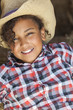 Happy Mixed Race African American Girl Child Cowboy Hat