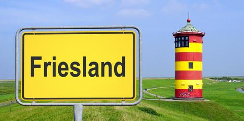 Friesland Schild mit Leuchtturm