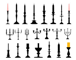 Silhouettes of candlesticks, vector illustration