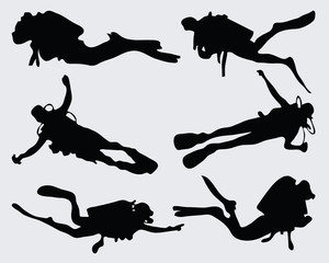 Set of diver silhouettes, vector